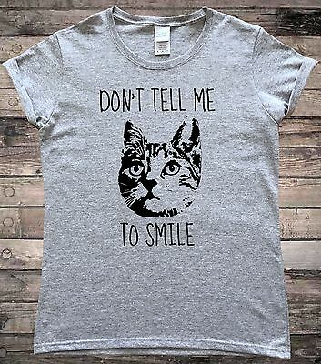 £7.99 • Buy Don't Tell Me To Smile Feminist Cat Resting Bitch Face T-Shirt