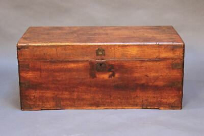 19thc. Camphor Wood Chest With Brass Straps & Large Brass Carrying Handles • 550£