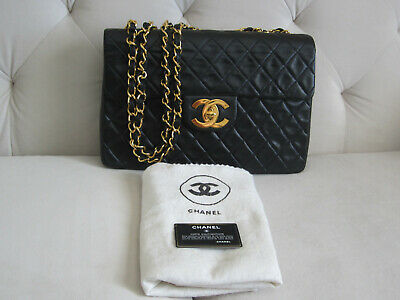 074d4a7b53ae Auth Chanel Vintage 13 XL Maxi Classic Jumbo Bag 24k Gold Plated HW  Excellent • 3,000.00