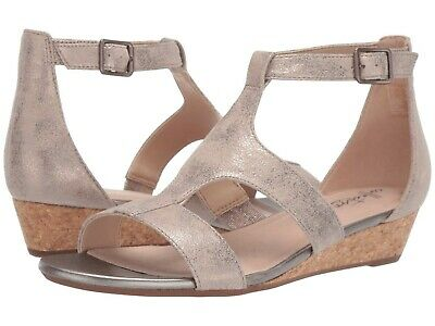 Women's Shoes Clarks ABIGAIL LILY Strappy Suede Wedge Sandals 40589 PEWTER • 47.06£