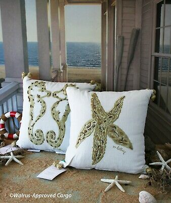 $119.95 • Buy Pottery Barn Lilly Pulitzer Starfish & Seahorse Embroidered Pillows (2) – Nwt