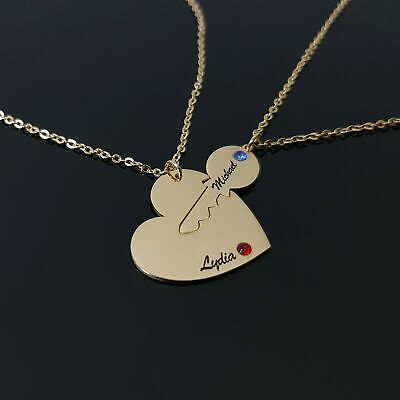 AU66.68 • Buy Valentines Day Necklace Couple Gift Ideas Personalized Heart Jewelry For Her