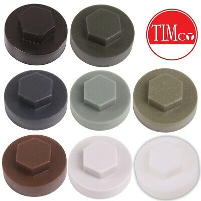 £4.13 • Buy Choose AMOUNT & COLOUR 19mm HEX SCREW COVER CAPS Roofing Fastener Finishing Dome