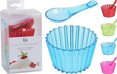 £5.98 • Buy 8 Piece Ice Cream Serving Set Dessert Bowls & Spoons Party Trifle Serving Dishes