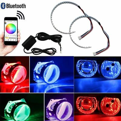 $20.88 • Buy 2pcs RGB LED Demon Eye Halo Ring For Headlight Projector Lens APP Remote Control