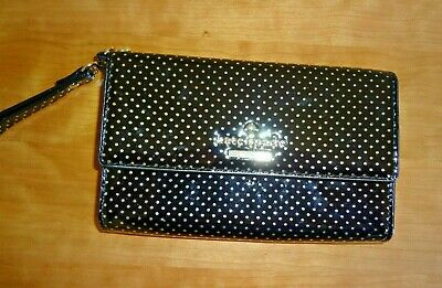 $ CDN44.19 • Buy Kate Spade NY Wristlet Wallet Black W/Gold Polka Dots Patent Leather IPhone Case
