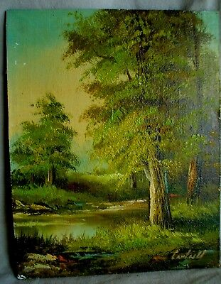 $ CDN43.54 • Buy Vintage 8 X 10 Oil On Board Landscape Painting Signed Cantrell