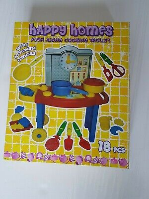 £8.99 • Buy Happy Homes Push Along Cooking Trolley With Kitchen Utensils 18pcs New In Box