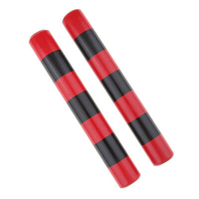 1 Pair Wooden Claves Rhythm Stick Party Percussion Instruments Red & Black • 5.65£