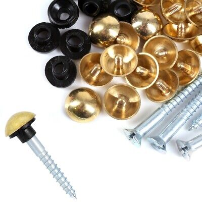 £3.55 • Buy BRASS MIRROR SCREWS 8G X 1  Polished Dome Head Cap Cover RUBBER WASHER Bathroom