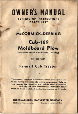 owner's manual setting up instructions cub-189 moldboard plow, farmall cub  • 17 49$