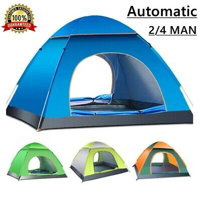 £21.99 • Buy 2-4 Man Person Pop Up Tent Festival Camping Hiking Beach Quick Fast Instant |Mat