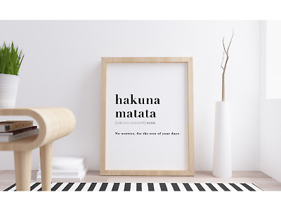 Hakuna Matata Definition Meaning Wall Art Print.  Disney Lion King Quote Poster • 2.50£