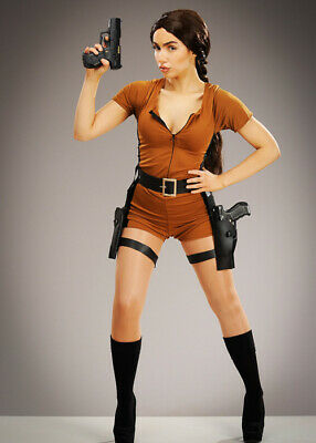 Womens Lara Croft Style Treasure Hunter Adult Halloween Fancy Dress Costume • 24.99£