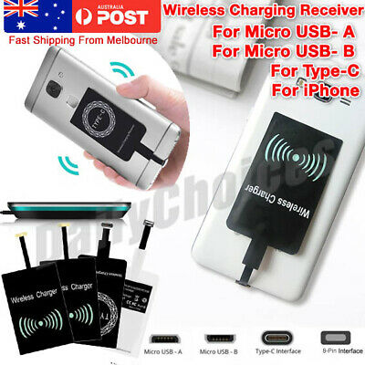 AU5.59 • Buy Qi Wireless Charging Receiver Card Charger Module For Micro-USB Smartphone Black
