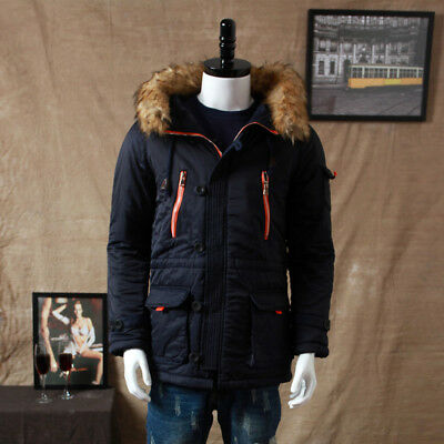 £37.61 • Buy Mens Winter Quilted Padded Jacket Faux Fur Hooded Coat Parka Topcoat Outwear New