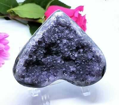 $89 • Buy RARE NATURAL LAVENDER PURPLE AMETHYST CRYSTAL HEART CLUSTER GEODE 3.6  227gram