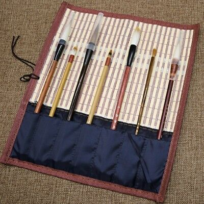 £11.19 • Buy Chinese Bamboo Writing Brush Bag Traditional Roll Up Pocket Calligraphy Tool New