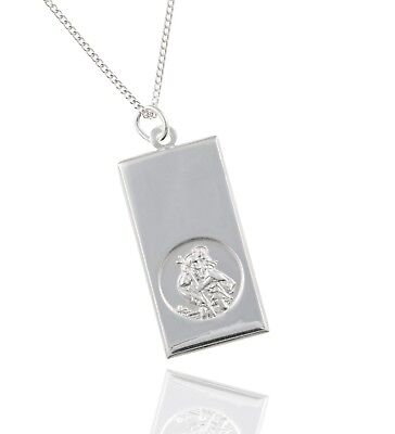 925 Sterling Silver Large Ingot St.Christopher Pendant - 4.7g - 18  Chain. • 29.99£