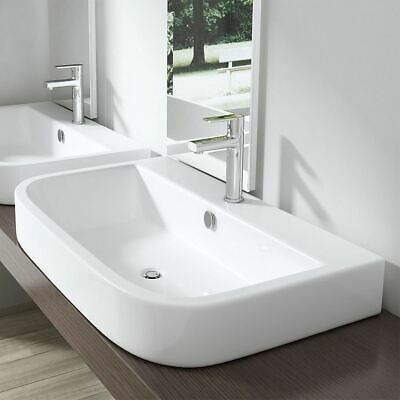 Durovin Bathrooms Wash Basin Ceramic Counter Top Wall Hung D Shape 800mm X 480mm • 59.99£