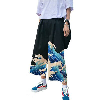 $ CDN24.95 • Buy Kawaii Clothing Harajuku Pants Wave Hokusai Tsunami Japanese Ulzzang Black Blue