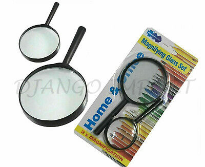 Magnifying Glass Set Large Small Magnifier Glass Lens Handheld 2 75mm And 50mm • 2.29£