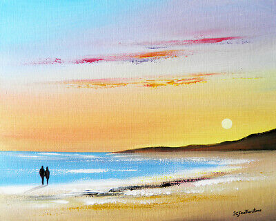 ORIGINAL CANVAS SEASCAPE PAINTING Sarah Featherstone Sunset Beach Walk, Sea, Sky • 24.95£