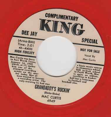 ROCKABILLY REPRO: MAC CURTIS -Grandaddy's Rockin'/Half Hearted Love KING-RED WAX • 7.97£