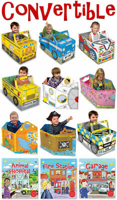 Boys & Girls Convertible Book Toy Set 3-6 Years Pirate Ship, Race Car, Spaceship • 14.99£