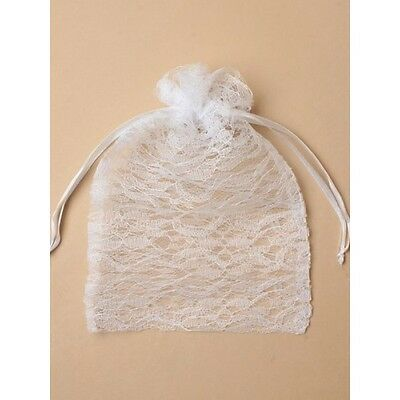NEW White Lace Drawstring Large Favour Bags Wedding Party Confectionary 22x15 • 1.99£
