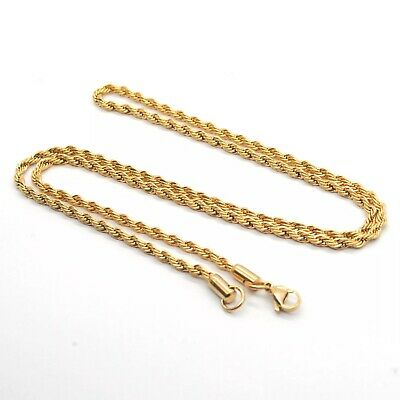 AU6.99 • Buy 18K Yellow Gold GP 3MM Twist Rope Chain WOMEN MEN Solid Charm Necklace GIFT