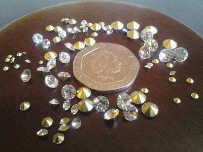 100 Clear Crystal Rhinestones Gold Point Back Simulated Diamonds, Various Sizes • 5£