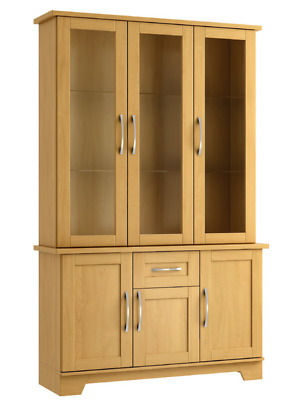 Ready Assembled Lichfield Beech 3 Door Display Cabinet Set With Lights Furniture • 549£