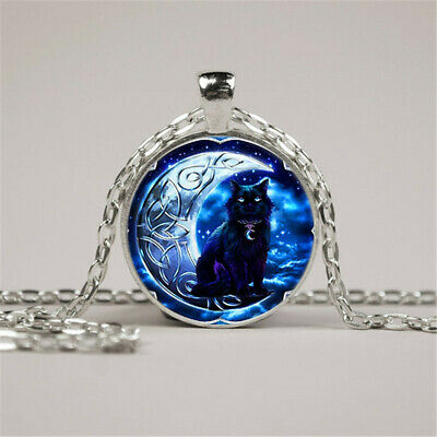 £14.62 • Buy 20pcs Jewelry Cat In The Moon Tibet Silver Cabochon Glass Pendant Chain Necklace