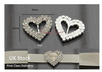 Crystal Ribbon Buckle Sliders Wedding Embellishments Card Invites A12 Heart • 3.15£
