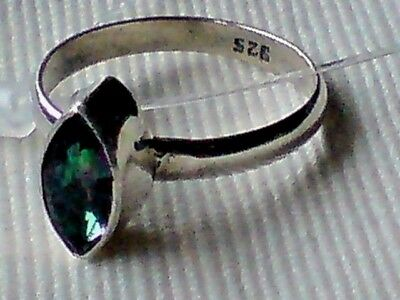 STERLING SILVER RING With 10mm OVAL FACETED MYSTIC TOPAZ STONE UK Size M £20.95 • 20.95£