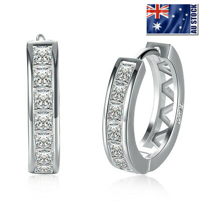 AU7.95 • Buy Wholesale 925 Sterling Silver Filled Clear Crystal Huggie Hoop Earrings Elegant