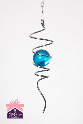 SILVER SPIRAL TAIL & BALL Illusion Accessory To Wind Spinner Stainless Steel NEW • 9.99£