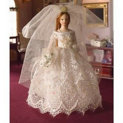 Grace In Wedding Dress, Dolls House Miniature 1;12 Scale Female Doll • 11.99£