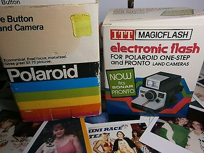 RARE OLD NEW STOCK  Polaroid BUTTON CAMERA BOXED + BOXED FLASH BOTH N E W TESTED • 129£