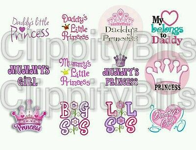£3.80 • Buy 50 X 1  Inch Pre Cut Bottle Cap Images Daddy's Mummy's Princess Sister Bows Mix