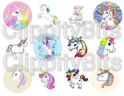 £3.80 • Buy 50 X 1  Inch Pre Cut Bottle Cap Images Cute Unicorn Pictures Bows Crafting