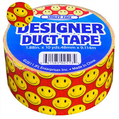 $9.99 • Buy New Designer Duct Tape Red W Yellow Smiley Faces Decorating School Crafts
