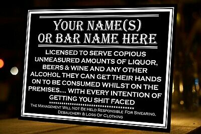 £6.49 • Buy Personalised Pub Bar Licensee Aluminium Metal Sign Customised With Your Words