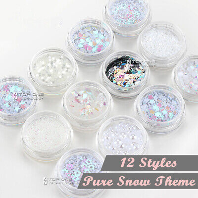 AU8.80 • Buy 12 Styles PURE SNOW Theme Nail Art Shiny Decal Pearl Star Glitter Dust Tips 3085