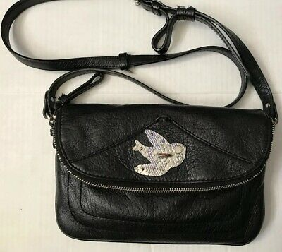 4709ef03f0e7 MARC By MARC JACOBS Petal To The Metal Bird Crossbody Flap Bag BLACK Purse  • 84.95