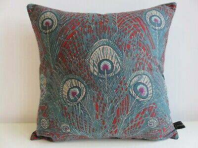 Liberty Hera Cotton & Velvet Fabric Arts Cushion Cover Red Teal Peacock Feathers • 32.50£