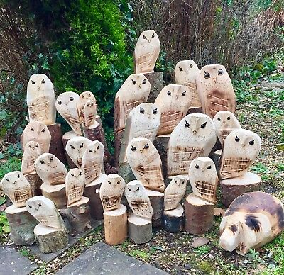 Wooden Owl Carving Gift Garden Statue Decoration Natural Christmas Decoration • 8.49£
