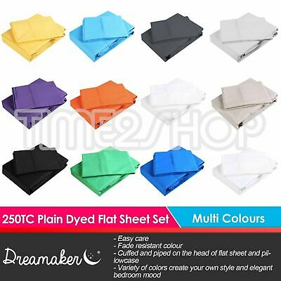 AU59.95 • Buy Dreamaker 250TC Plain Dyed Flat & Fitted Sheet & Pillowcase Set Colour Bed Size