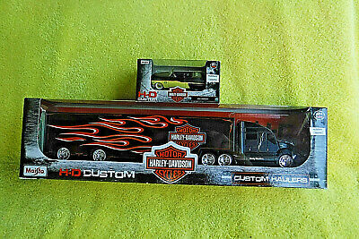 $ CDN65.28 • Buy New In Pack! Harley Davidson Custom Semi Trailer Hauler/1950 Mercury Car Combo!